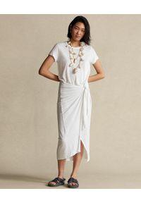 Ralph Lauren - RALPH LAUREN - Lniana sukienka z drapowaniem midi Straight fit. Typ kołnierza: polo. Kolor: biały. Materiał: len. Wzór: aplikacja. Długość: midi