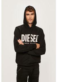 Czarna bluza nierozpinana Diesel z nadrukiem, casualowa, z kapturem, na co dzień