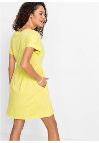 Sukienka shirtowa z kieszeniami bonprix jasna limonka. Kolor: żółty. Długość: mini