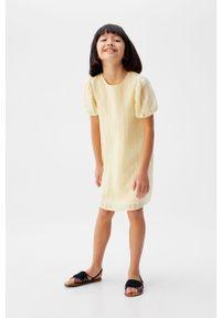 Żółta sukienka Mango Kids prosta, na co dzień, mini