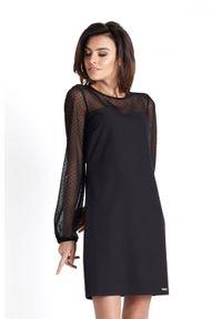 Czarna sukienka wizytowa IVON w kropki, wizytowa