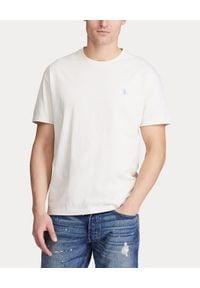 Ralph Lauren - RALPH LAUREN - Biały t-shirt z logo Classic Fit. Typ kołnierza: polo. Kolor: biały. Materiał: bawełna. Wzór: haft