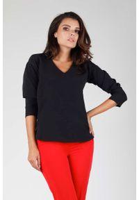 Czarna bluzka z długim rękawem Nommo z dekoltem w kształcie v