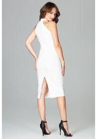 Lenitif - Wizytowa dopasowana sukienka z dekoltem halter neck ecru. Okazja: na imprezę. Typ kołnierza: dekolt halter. Typ sukienki: ołówkowe, z odkrytymi ramionami. Styl: wizytowy