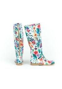 Zapato - kozaki - skóra naturalna - model 127 - kolor kwiatek. Wysokość cholewki: przed kolano. Nosek buta: okrągły. Zapięcie: zamek. Materiał: skóra. Szerokość cholewki: normalna. Wzór: kwiaty. Sezon: lato, jesień, zima, wiosna. Styl: klasyczny, sportowy, militarny