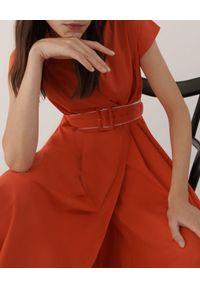 Pomarańczowa sukienka Marella midi, na randkę, klasyczna, rozkloszowana