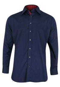 Niebieska elegancka koszula Chiao długa, na spotkanie biznesowe, z aplikacjami, z długim rękawem