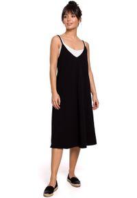 e-margeritka - Sukienka midi trapezowa na ramiączkach czarna - 2xl. Kolor: czarny. Materiał: bawełna, dzianina, materiał, elastan. Długość rękawa: na ramiączkach. Typ sukienki: trapezowe. Styl: sportowy. Długość: midi