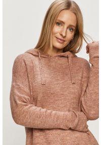 Różowy sweter Jacqueline de Yong na co dzień, długi, casualowy, z długim rękawem