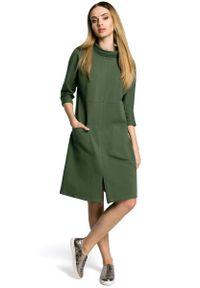 Zielona sukienka dzianinowa MOE sportowa, sportowa