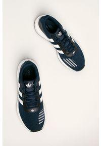 Niebieskie sneakersy adidas Originals z cholewką, na sznurówki, do biegania