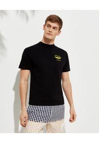 PALM ANGELS - Bawełniany t-shirt z logo. Kolor: czarny. Materiał: bawełna. Wzór: aplikacja, nadruk. Styl: klasyczny
