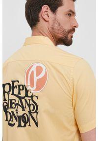Pepe Jeans - Koszula bawełniana ANDY. Okazja: na co dzień. Kolor: żółty. Materiał: bawełna. Długość rękawa: krótki rękaw. Długość: krótkie. Styl: casual