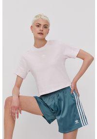 adidas Originals - T-shirt. Kolor: fioletowy. Materiał: dzianina. Wzór: gładki