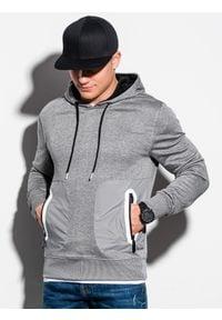 Ombre Clothing - Bluza męska z kapturem B1082 - szary melanż - XXL. Typ kołnierza: kaptur. Kolor: szary. Materiał: poliester, bawełna. Wzór: melanż