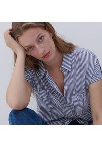 Reserved - Koszula z wiskozy - Granatowy. Kolor: niebieski. Materiał: wiskoza