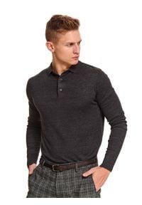 TOP SECRET - Sweter z kołnierzykiem gładki. Okazja: na co dzień. Kolor: szary. Materiał: bawełna. Długość: długie. Wzór: gładki. Sezon: zima, jesień. Styl: casual