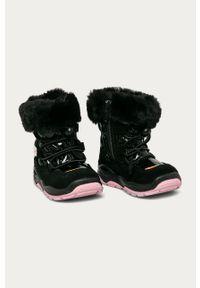 Czarne buty zimowe Primigi na zimę, z cholewką, na sznurówki