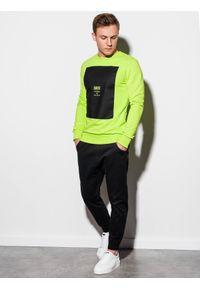 Zielona bluza Ombre Clothing z nadrukiem, bez kaptura, klasyczna