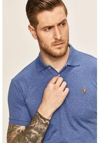 Niebieska koszulka polo Polo Ralph Lauren polo, krótka, z aplikacjami, casualowa