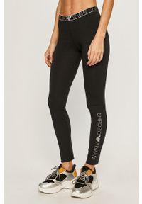 Czarne legginsy Emporio Armani z nadrukiem