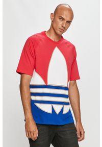 Wielokolorowy t-shirt adidas Originals z nadrukiem, na co dzień, casualowy, z okrągłym kołnierzem
