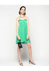 Zielona sukienka mini Pinko rozkloszowana, na ramiączkach