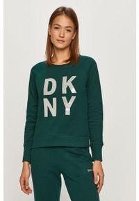 Zielona bluza DKNY z długim rękawem, długa, casualowa, na co dzień