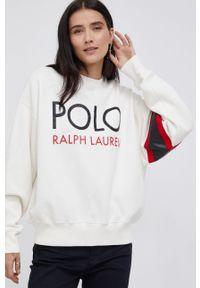 Polo Ralph Lauren - Bluza. Typ kołnierza: polo. Kolor: beżowy. Wzór: nadruk