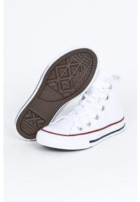 Białe trampki Converse z okrągłym noskiem, na sznurówki, z cholewką