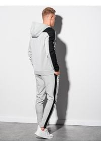 Ombre Clothing - Bluza męska rozpinana z kapturem B1159 - szara - XXL. Typ kołnierza: kaptur. Kolor: szary. Materiał: poliester, bawełna