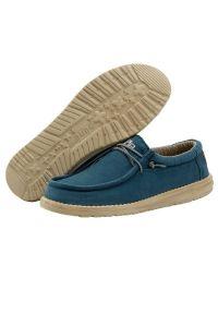 Półbuty HeyDude Wally Washed Hydro, Niebieski, Materiał. Kolor: niebieski. Materiał: tkanina. Szerokość cholewki: normalna. Sezon: lato, wiosna