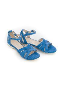 Zapato - sandały na miękkiej podeszwie - skóra naturalna - model 370 - kolor niebieski welur. Okazja: na imprezę, na co dzień. Kolor: niebieski. Materiał: welur, skóra. Wzór: motyw zwierzęcy, kwiaty, nadruk. Sezon: lato, wiosna. Obcas: na płaskiej podeszwie. Styl: boho, wakacyjny, casual