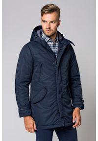 Niebieska kurtka Lancerto na zimę, w kolorowe wzory, elegancka