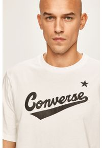 Biały t-shirt Converse z nadrukiem, casualowy, na co dzień