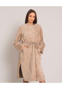 ALMAROSAFUR - Dwustronny beżowy płaszcz. Kolor: beżowy. Długość: długie. Styl: elegancki