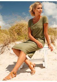 Sukienka lniana bonprix oliwkowy. Kolor: zielony. Materiał: len