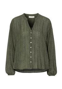 Zielona bluzka Cream elegancka, z długim rękawem, długa, z dekoltem w serek