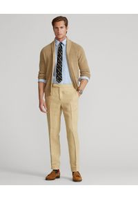 Ralph Lauren - RALPH LAUREN - Niebieska koszula z lnu Custom Fit. Typ kołnierza: polo. Kolor: niebieski. Materiał: len. Długość rękawa: długi rękaw. Długość: długie. Wzór: haft, prążki. Styl: klasyczny #4