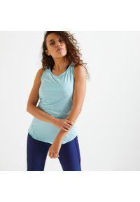 DOMYOS - Koszulka fitness damska Domyos bez rękawów. Kolor: niebieski. Materiał: poliester, elastan, materiał. Długość rękawa: bez rękawów. Długość: długie. Sport: fitness