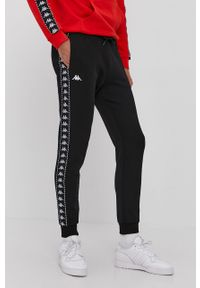 Czarne spodnie dresowe Kappa z nadrukiem