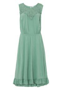 Sukienka z przyjaznej dla środowiska wiskozy bonprix zielony pastelowy. Kolor: zielony. Materiał: wiskoza