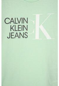 Miętowa bluzka z krótkim rękawem Calvin Klein Jeans na co dzień, casualowa
