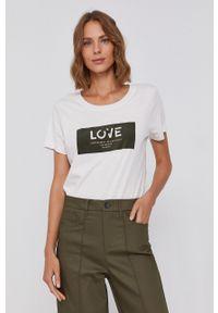 Mos Mosh - T-shirt. Okazja: na co dzień. Kolor: zielony. Materiał: bawełna. Wzór: aplikacja. Styl: casual