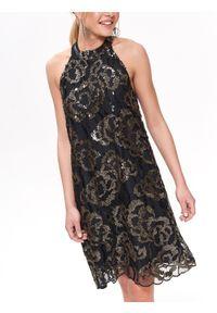 Czarna sukienka TOP SECRET w kolorowe wzory, na zimę, elegancka