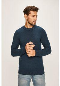 Niebieski sweter PRODUKT by Jack & Jones z okrągłym kołnierzem