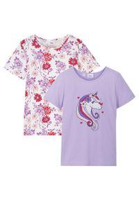 T-shirt dziewczęcy (2 szt.), bawełna organiczna bonprix biel wełny - kremowy bez. Kolor: biały. Materiał: bawełna, wełna. Długość rękawa: krótki rękaw. Długość: krótkie. Wzór: nadruk