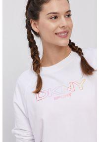 DKNY - Dkny - Bluza. Kolor: biały. Długość rękawa: raglanowy rękaw. Wzór: nadruk