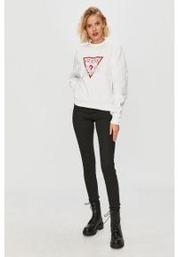 Biała bluza Guess Jeans z nadrukiem, z okrągłym kołnierzem