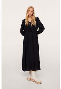 mango - Mango - Sukienka Dafne. Kolor: czarny. Długość rękawa: długi rękaw